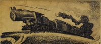 THOMAS HART BENTON (American 1889-1975) Express Train, Going West, circa 1930-34 Ink, pencil, and co