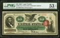 Large Size:Legal Tender Notes, Fr. 95b $10 1863 Legal Tender PMG About Uncirculated 53 EPQ.. ...