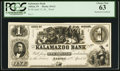 Obsoletes By State:Indiana, Albion, IN- Kalamazoo Bank $1 G2 Wolka 6-1 Proof. ...