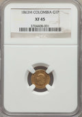 Colombia, Colombia: Republic gold Peso 1863-M XF45 NGC,...