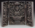 Asian:Chinese, A Chinese Carved Hardwood Tri-Fold Shrine. 10-1/4 h x 7 w x 1-3/4 dinches (26.0 x 17.8 x 4.4 cm) (closed). ...