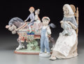 Ceramics & Porcelain, Three Lladro Porcelain Figural Groups, late 20th century. Marks: (logotype), LLADRO, HAND MADE IN SPAIN, (various). 11 i... (Total: 3 Items)