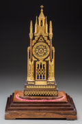 Clocks & Mechanical:Clocks, A French Gothic Revival Gilt and Patinated Bronze Cathedral Table Clock on Original Wooden Base, circa 1830. Marks to moveme... (Total: 3 Items)