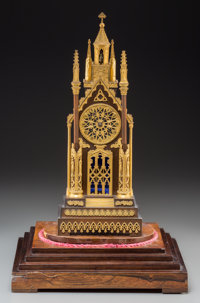 A French Gothic Revival Gilt and Patinated Bronze Cathedral Table Clock on Original Wooden Base, circa 1830 Marks