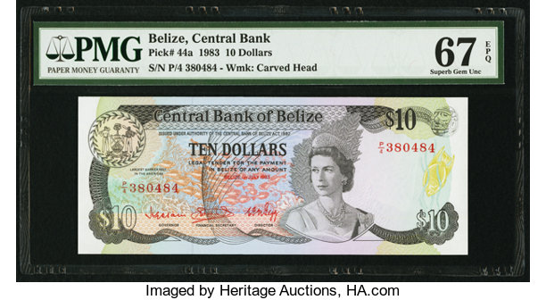 World Currency Belize Central Bank Of 10 1 7 1983 Pick 44a