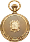 Timepieces:Pocket (pre 1900) , Elgin 14k Gold Unused 16 Size Cased Doctor's Watch. ...
