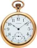 "Timepieces:Pocket (post 1900), Waltham Rare 14k Gold 20 Jewel ""Ultimatum"" . ..."