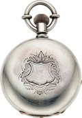 Timepieces:Pocket (pre 1900) , Hampden Railway Abbotts Conversion Massive 8 Ounce Silver Case. ...