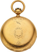 Timepieces:Pocket (pre 1900) , New York Watch Co. 18k Gold Original Cased Key Wind For R.P. FowlerAgawam Mass. . ...