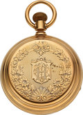 Timepieces:Pocket (pre 1900) , Waltham Wm. Ellery Patented Heavy 14k Gold 18 Size Swing Out Case....