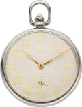 Timepieces:Pocket (post 1900), Elgin 14k White Gold C. H. Hulburd With Special Dial . ...