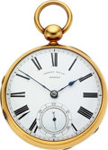Timepieces:Pocket (pre 1900) , J.J. Bigelow Boston 18k Gold Fusee For Robert Gould Boston. ...