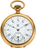Timepieces:Pocket (pre 1900) , Hampden 18k Gold 21 Jewel John Hancock, Special Dial. ...