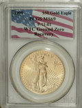 Modern Bullion Coins, 1999 G$50 One-Ounce Gold Eagle MS69 PCGS. 9-11-01 WTC Ground ZeroRecovery. PCGS Population (1269/8). NGC Census: (909/93)...