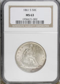 Seated Half Dollars, 1861-S 50C MS63 NGC....