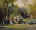 19th Century European, LÉONARD SAURFELT (French b. 1840). Blind Man's Bluff. Oil oncanvas. 21-1/4 x 21-1/4 inches (54.0 x 54.6 cm). Signed low...