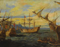 Fine Art - Painting, European, Attributed to DAVID DELLEPIANE (French 1866-1925). Royal Naval Battle. Oil on canvas. 28 x 36 inches (71.1 x 91.4 cm). S...