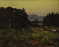 Fine Art - Painting, American:Modern  (1900 1949)  , ELLIOT DAINGERFIELD (American 1859-1932). Landscape at Dusk.Oil on illustrator's board. 8 x 10 inches (20.3 x 25.4 cm)...