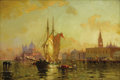 Fine Art - Painting, American:Antique  (Pre 1900), WALTER FRANKLIN LANSIL (American 1846-1933). Sunset Venice,1897. Oil on original unlined canvas. 12 x 18-1/4 inches (30...