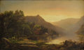 Fine Art - Painting, American:Antique  (Pre 1900), WILLIAM LOUIS SONNTAG (American 1822-1900). New England MountainLake at Sunrise. Oil on original unlined canvas. 12 x 2...