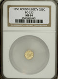 California Fractional Gold: , 1856 25C Liberty Round 25 Cents, BG-230, Low R.4, MS64 NGC. NGCCensus: (1/2). PCGS Population (17/3). (#10415)...