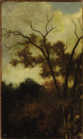 Fine Art - Painting, European:Antique  (Pre 1900), CHARLES FRANÇOIS DAUBIGNY (French, 1817-1878). WoodlandLandscape, 1850. Oil on canvas laid on board. 14-1/2 x 8-3/4inc...