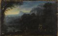 Fine Art - Painting, European:Antique  (Pre 1900), Circle of ÉTIENNE ALLEGRAIN (French 1644-1736). Figures atWater's Edge. Oil on canvas. 9-1/4 x 15 inches (23.5 x 38.1c...
