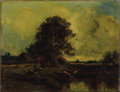 Fine Art - Painting, European:Antique  (Pre 1900), Attributed to JULES DUPRÉ (French 1811-1889). River Landscapewith Cottage. Oil on panel. 11 x 14 inches (27.9 x 35.6 cm...