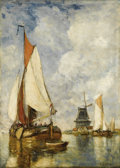 Fine Art - Painting, European:Antique  (Pre 1900), JEAN PAUL CLAYS (Belgian 1817-1900). Moored Ships atHarbour. Oil on panel. 22 x 15-1/2 inches (55.9 x 39.4 cm).Signed ...