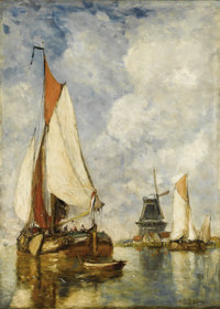 PAUL JEAN CLAYS (Belgian 1817-1900) Moored Ships at Harbour Oil on panel 22 x 15-1/2 inches (55.9