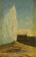 Fine Art - Painting, American:Antique  (Pre 1900), GRAFTON TYLER BROWN (American 1841-1918). YellowstoneGeyser, 1890. Oil on canvas laid on board. 16 x 10 inches (40.6x ...