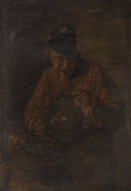 Paintings, Manner of ADRIAEN BROUWER (Flemish c. 1605-1638). Night in the Tavern. Oil on panel. 3-1/2 x 4-1/2 inches (8.9 x 11.4 cm...