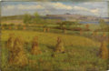 Fine Art - Painting, American:Modern  (1900 1949)  , EDWIN BURRAGE CHILD (American 1868-1937). Hayfields, 1893.Oil on canvas. 18-1/4 x 28 inches (46.4 x 71.1 cm). Signed an...