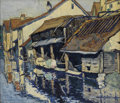 Fine Art - Painting, American:Contemporary   (1950 to present)  , HALE ASPACIO WOODRUFF (African-American 1900-1980). Les Bords del'Eure, Chartres. Watercolor and pencil on paper. 14-1/...