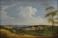 Fine Art - Painting, European, GERMAN SCHOOL (Eighteenth Century) . Traveler on a Path with aView of the Village. Oil on canvas. 12-1/4 x 18 inches (3...