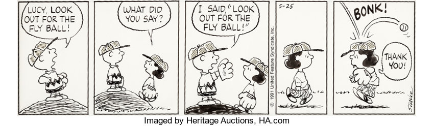 Original Comic Art:Comic Strip Art, Charles Schulz Peanuts Daily Comic Strip Charlie Brown and Lucy Original Art dated 5-25-91 (United Feature Syndica...