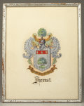 "Military & Patriotic:Civil War, NATHAN BEDFORD FORREST HAND DRAWN FAMILY CREST ""COAT OF ARMS""..."