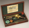 Military & Patriotic:Civil War, CONFEDERATE THOMAS GRISWOLD & CO. CASED ENGRAVED GOLD WASHED TRANTER DOUBLE ACTION .44 CALIBER PERCUSSION REVOLVER.... (Total: 6 Items)