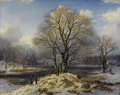 Paintings, JOHANNES BARTHOLOMAÜS DUNTZE (German 1823-1895). Winter Landscape, 1849. Oil on original unlined canvas. 31 x 39 inches ...