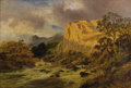Fine Art - Painting, European, ROBERT GALLON (British 1845-1925). Landscape, circa 19th century. Oil on canvas laid on board. 20 x 30 inches (50.8 x 76...
