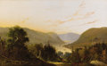 Fine Art - Painting, American:Antique  (Pre 1900), WILLIAM LOUIS SONNTAG (American 1822-1900). Hudson RiverLandscape with River Traffic. Oil on original unlined canvas.2...