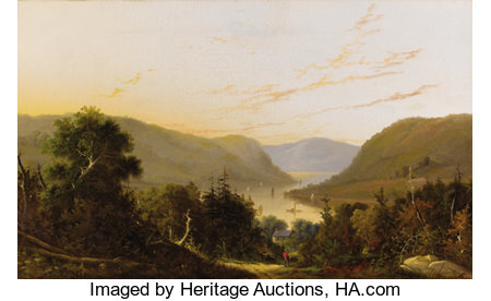 WILLIAM LOUIS SONNTAG (American 1822-1900)Hudson River Landscape with River TrafficOil on original unlined canvas2...