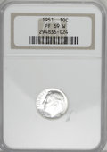 Proof Roosevelt Dimes: , 1951 10C PR69 NGC. NGC Census: (6/0). PCGS Population (7/0).Mintage: 57,500. Numismedia Wsl. Price for NGC/PCGS coin in PR...
