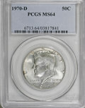Kennedy Half Dollars: , 1970-D 50C MS64 PCGS. PCGS Population (677/1005). NGC Census:(364/425). Mintage: 2,150,000. Numismedia Wsl. Price for NGC/...