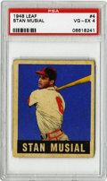 Baseball Cards:Singles (1940-1949), 1948-49 Leaf Stan Musial #4 PSA VG-EX 4. Stan the Man's colorfulentry from the 1948-49 Leaf baseball issue presents here i...