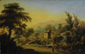 Fine Art - Painting, European:Antique  (Pre 1900), GIUSEPPE GHERARDI (Italian Circa 1788-1884). Italian Landscape with Beggars, 1831. Oil on canvas. 19-3/4 x 30-3/4 inches...