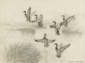 Texas:Early Texas Art - Drawings & Prints, REVEAU BASSETT (1897-1981). Untitled Six Ducks Taking Flight.Pencil on paper. 10 x 13-1/2 inches (25.4 x 34.3 cm). Signed l...