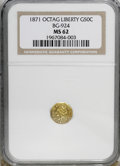 California Fractional Gold: , 1871 50C Liberty Octagonal 50 Cents, BG-924, R.3, MS62 NGC. NGCCensus: (12/13). PCGS Population (68/52). (#10782)...