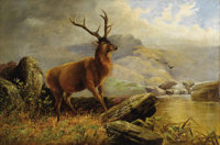 HENERY MORRIS (Irish or Canadian Nineteenth Century) Stag at Mountain Stream, 1883 Oil on original u