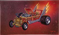 Illustration:Advertising, JOE CHIODO (American b.1958) . Crypt Keeper Dragster, 1996 .Mixed-media on board . 12 x 20in. . Signed lower right ... (Total:1 Item)